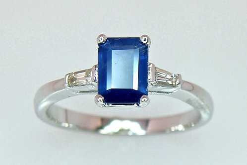 ESTATE Sapphire & Diamond Ring in White 14K Gold
