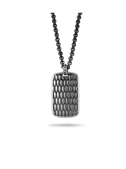HERA Demir Men's Oxidized Sterling Silver Dog Tag and Midnight Sterling Chain