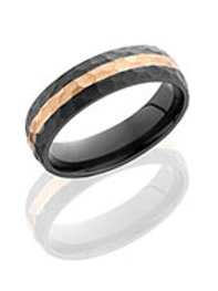 LASHBROOK Hammered Zirconium Domed Band with Rose 14K Gold Inaly