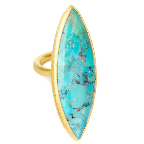 NINA NGUYEN 22K Gold Vermeil ENLIGHTENED ZEN Marquise Turquoise Ring