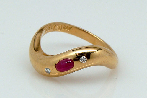ESTATE Ruby Cabochon Curved Gypsy Ring in Yellow 14K Gold