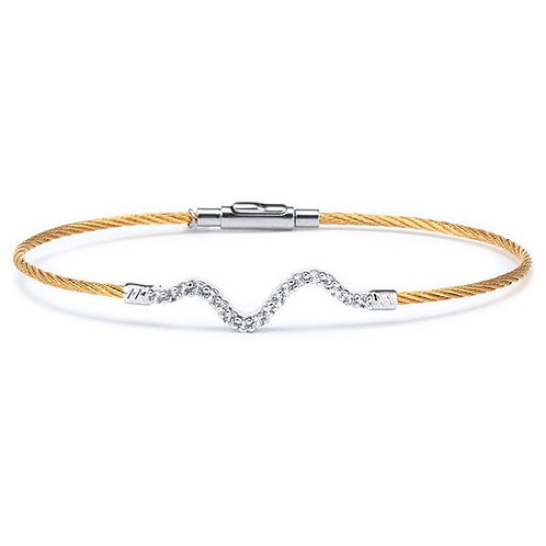 CHARRIOL Silver, Yellow Stainless Steel, and White Topaz LAETITIA Heartbeat Ban