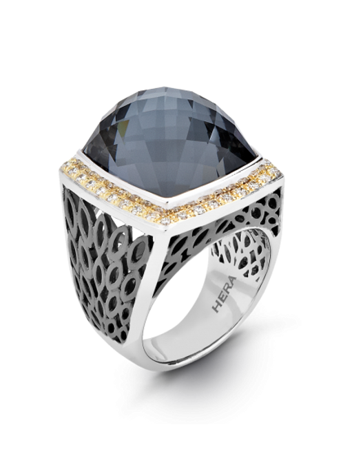 HERA Sterling Silver/Yellow 18K LIDO Ring with Hematite Mist Doublet & Diamonds