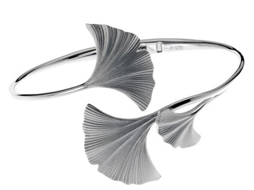 REBECCA HOOK Sterling Silver Ginkgo Hinged Bracelet