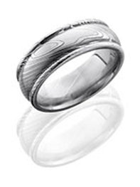 LASHBROOK Damascus Steel Domed Band with Rounded Edges