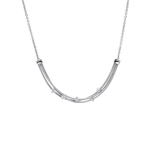 CHARRIOL Stainless Steel, Sterling Silver, & White Topaz MALIA Necklace