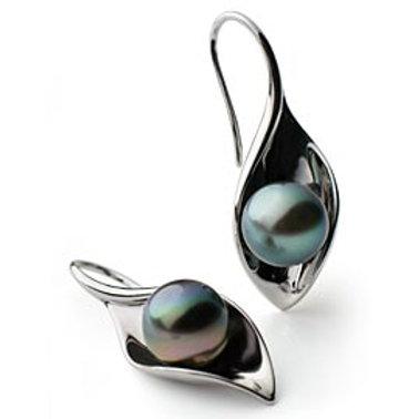 TAHIZEA Tahitian Pearl and Rhodium Plated Sterling Silver RAU Drop Earrings