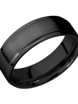 LASHBROOK Cross Satin Zirconium Band with Polished Step Edge