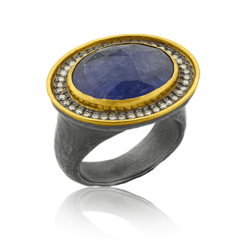 "LIKA BEHAR ""Rosalie"" Ergonomic Tanzanite Ring RSL-R-407-GXCD"