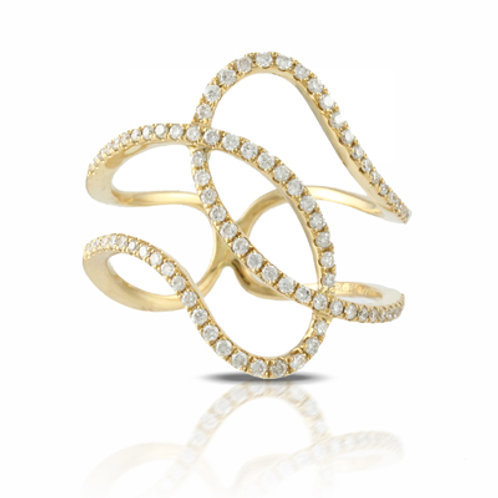 DOVES Sparkling Diamond Ring in Yellow 18K Gold