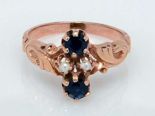 ESTATE Sapphire & Seed Pearl Toe Ring in Rosé 14K Gold
