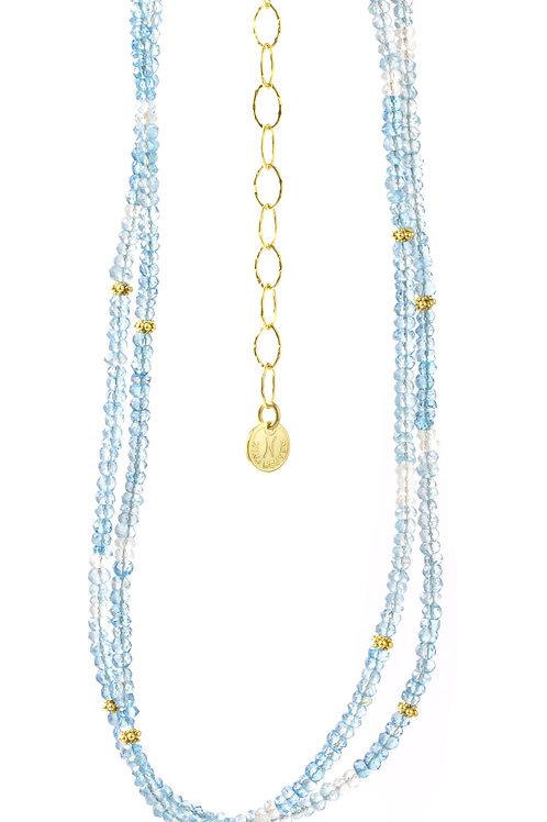 NINA NGUYEN 22K Gold Vermeil WISTERIA-HARMONY Shaded Blue Topaz Bead Necklett