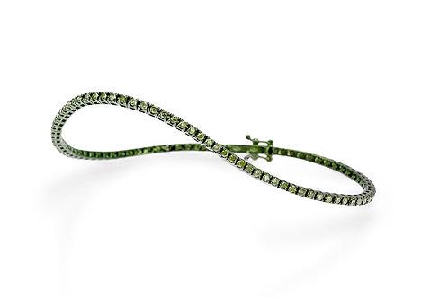 FACET BARELONA Green Rhodium Plated 14K Diamond Tennis Bracelet