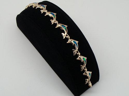ESTATE Opal Dolphin Link Bracelet in Yellow 14K Gold