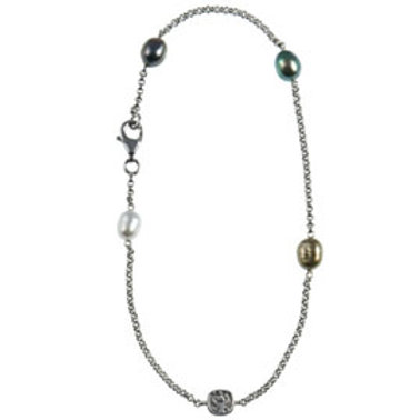 TAHIZEA Tahitian Pearl and Rhodium Plated Sterling Silver PORO AREA Anklet