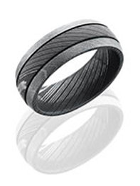 LASHBROOK Damascus Steel Domed Band with Grooves & Acid/Bead Finish