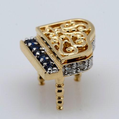 ESTATE Sapphire & Diamond Piano Charm or Pendant