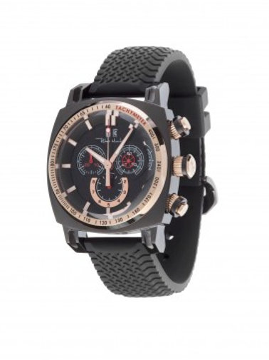 RITMO MUNDO Ritmo Racer 44mm Stainless Watch with Black Dial and Rose  Accents
