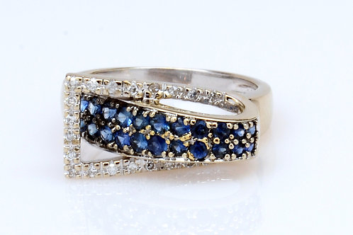 ESTATE Sapphire & Diamond Buckle Ring in White 14K Gold