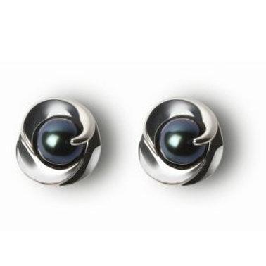 TAHIZEA Tahitian Pearl and Rhodium Plated Sterling Silver REVA NUI Stud Earrings