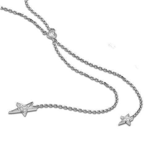 KC DESIGN Diamond Double Star Lariat Necklace in White 14K Gold