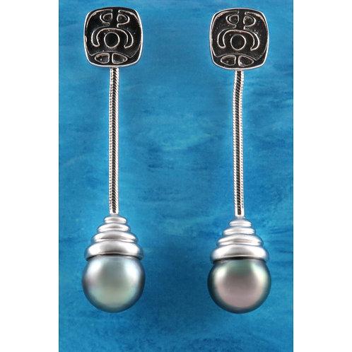 TAHIZEA Tahitian Pearl and Rhodium Plated Sterling Silver TARAH Dangle Earrings
