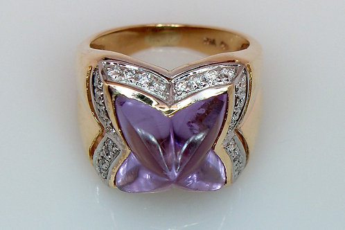 ESTATE Amethyst & Diamond Ring in Two Tone 14K Gold