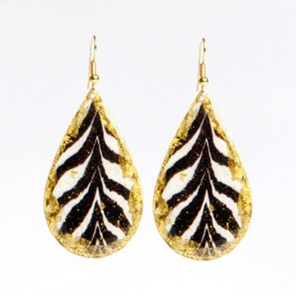 EVOCATEUR Brass Zebra Teardrop Earrings