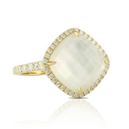DOVES White Orchid Mother of Pearl & Diamond Ring R6119WMP