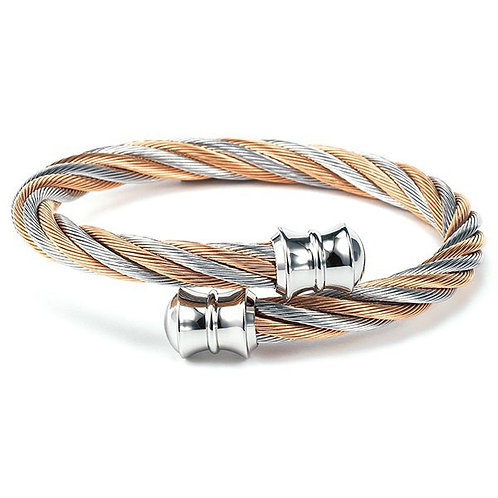 CHARRIOL Rose and Monochrome Stainless Steel CELTIC 6mm Cable Bracele