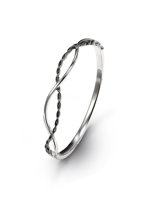 HERA Amara Infinity Bangle in Polished & Midnight Finish Sterling Silver