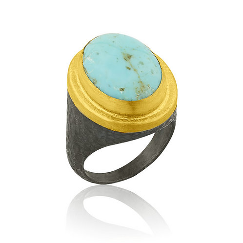 LIKA BEHAR Kingsman Turquoise Ring POM-R-956-GOXTQ-33
