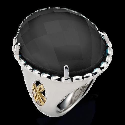 HERA Sterling Silver & Yellow 18K Gold RAYA Hematite Mist Ring