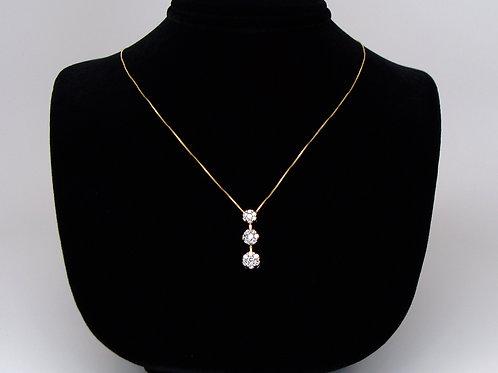 ESTATE Graduated Diamond Drop Pendant and Box Chain