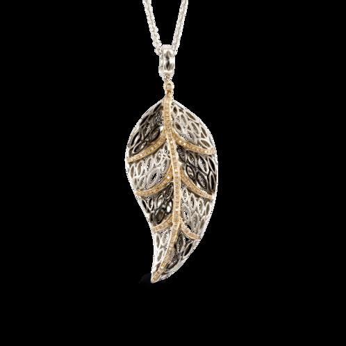 HERA Sterling Silver & Rosé 18K Gold PALMERA Diamond Leaf Pendant on chain