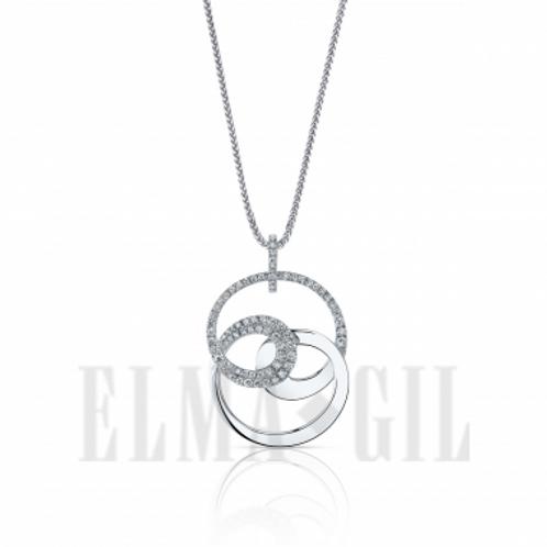 ELMA GIL Diamond Pendant in White 18K Gold DP-136