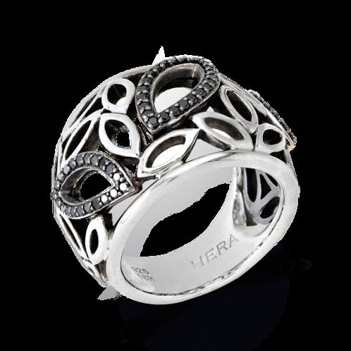 HERA Sterling Silver LUNA Domed Leaf Ring with Black Spinels