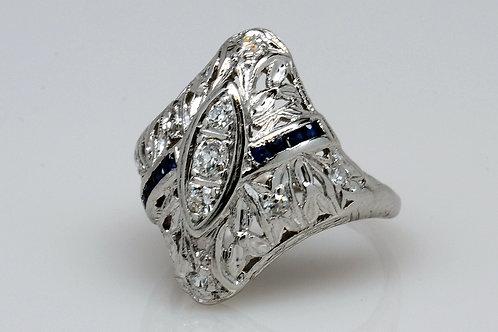 ESTATE Vintage Sapphire & Diamond in Filigree White 18KGold