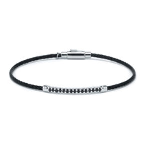 CHARRIOL Black Stainless Steel, Sterling Silver, and Black Spine LAETITIA Bangle