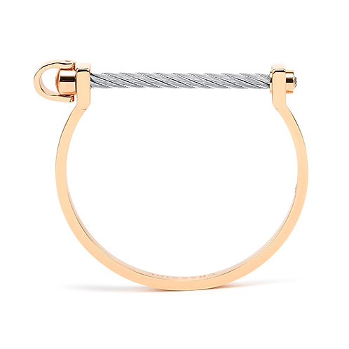 CHARRIOL Rose Tone Stainless Steel & White Topaz LOVE BRIDGE Cable Bracelet