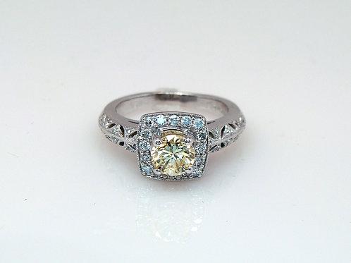 ESTATE GIA Certified Yellow Diamond Halo Ring