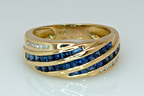 ESTATE Sapphire & Diamond Wave Band in Yellow 18K Gold