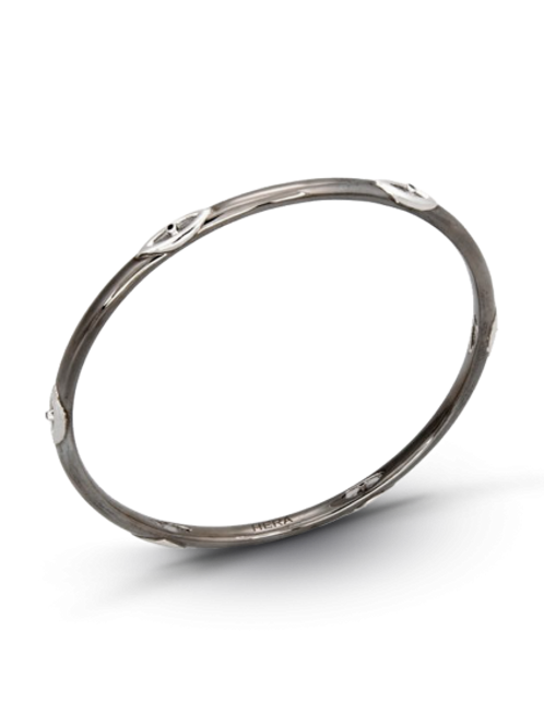 HERA Midnight Sterling Silver CLASSIC STAX Motif Bangle