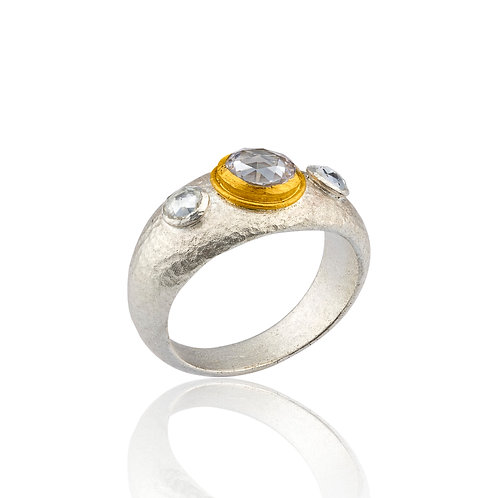 "LIKA BEHAR ""Capri"" Oxidized Sterling,White Sapphire, & 24K Ring CPR-R-101-SILG"