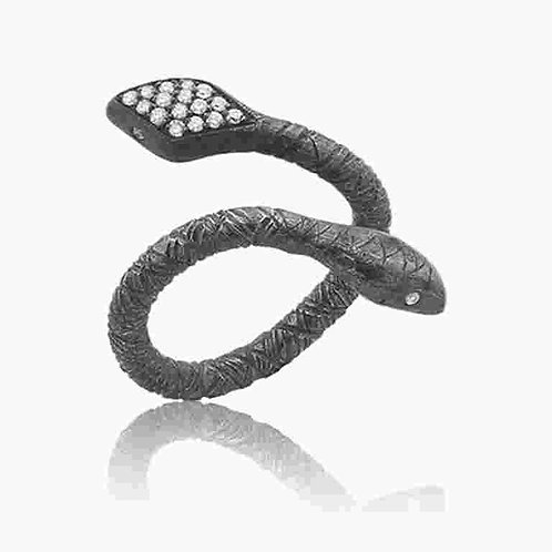 LIKA BEHAR Snake with Diamond Tail Ring DSNK-R-102-GXD-4