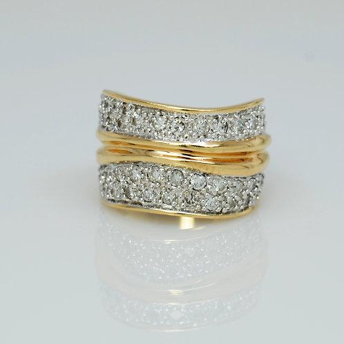 ESTATE Lady's Yellow 14K Faux Double Band Diamond Fashion Ring
