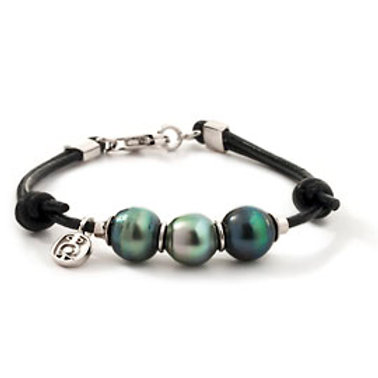TAHIZEA Tahitian Pearl TRIO Sterling Silver and Black Leather Bracelet