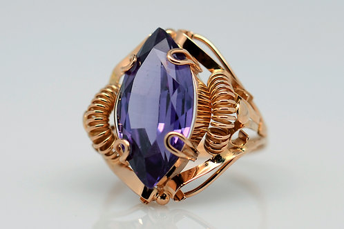 ESTATE Marquise Amethyst Ring in Yellow 18K Gold