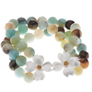 REBECCA HOOK Amazonite, Sterling Silver and Gold Vermeil 3-Strand Bracelet