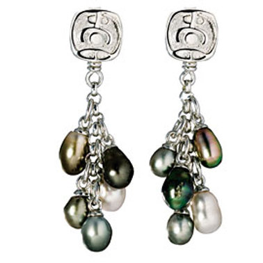 TAHIZEA Tahitian Pearl and Rhodium Plated Sterling Silver ATARI Dangle Earrings